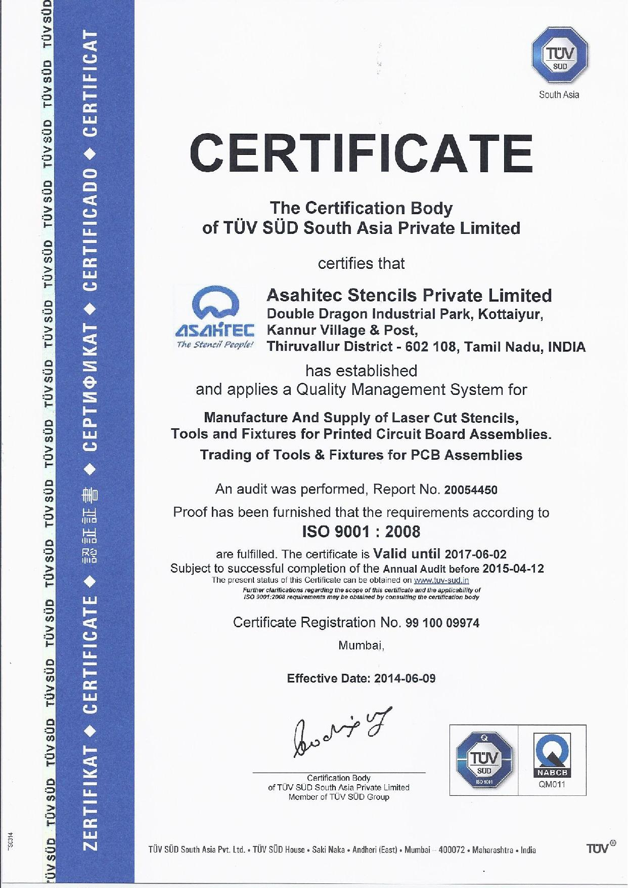 Asahitec Ipc Certified Manufacturers Iso 90012008 Certification